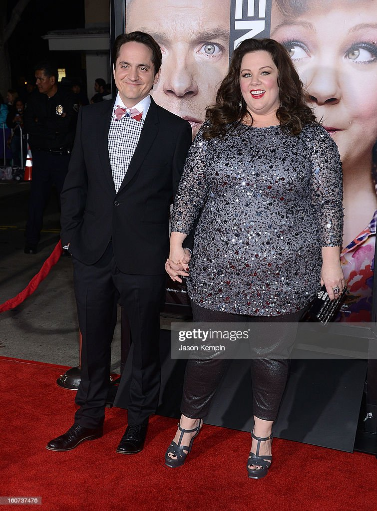 Actor Ben Falcone and actress Melissa McCarthy attend the Premiere Of Universal Pictures' 'Identity Thief' on February 4, 2013 in Westwood, California.