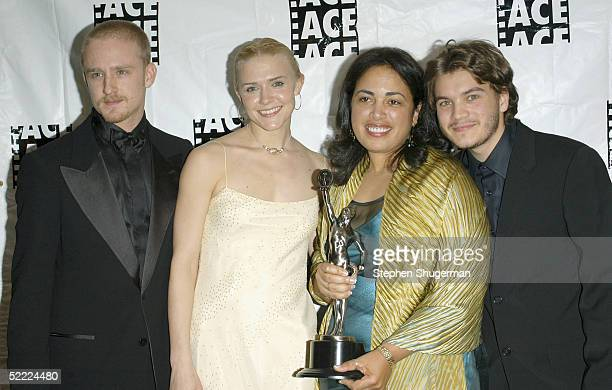 Actor Ben Foster actress Dominique Swain Editor Terilyn A Shropshire and actor Emile Hirsch pose backstage at the 55th ACE Eddie Awards at the...
