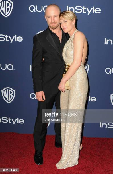 Actor Ben Foster and actress Robin Wright arrive at the 2014 InStyle And Warner Bros 71st Annual Golden Globe Awards PostParty on January 12 2014 in...