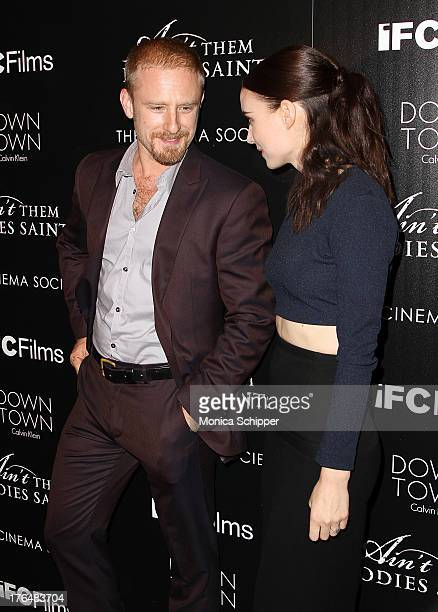 Actor Ben Foster and actress Ronney Mara attend the Downtown Calvin Klein with The Cinema Society screening of IFC Films' 'Ain't Them Bodies Saints'...