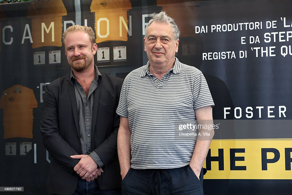 Actor Ben Foster and director Stephen Frears attend a photocall for 'The Program' at Hotel Bernini Bristol on September 29 2015 in Rome Italy