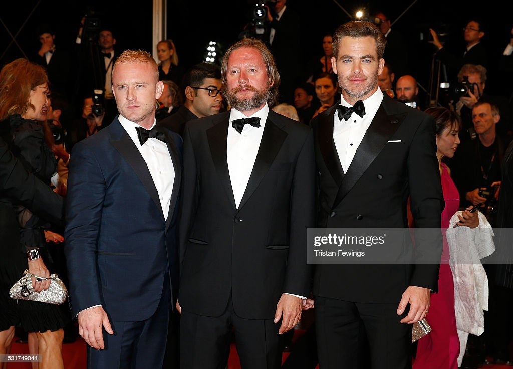 Actor Ben Foster director David MacKenzie and actor Chris Pine attend the 'Hands Of Stone' premiere during the 69th annual Cannes Film Festival at...