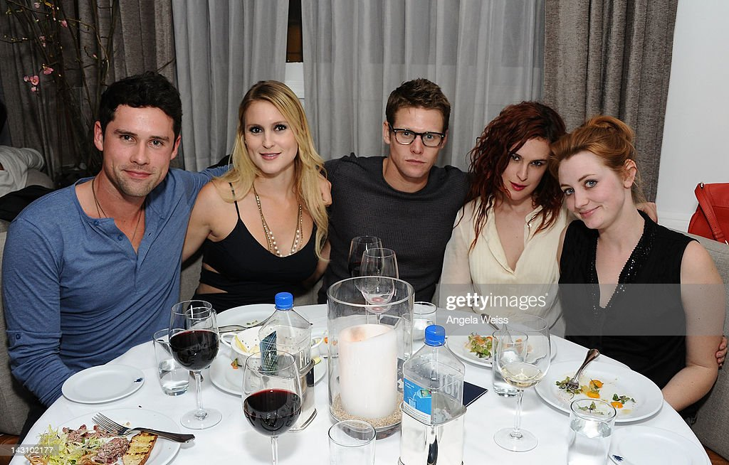 Actor Ben Hollingsworth, Nila Myers, actor Zack Roerig, actresses Rumer Willis and Shannon Collis attend the 'Black November' post-screening dinner at Bagatelle on April 18, 2012 in Beverly Hills, California.