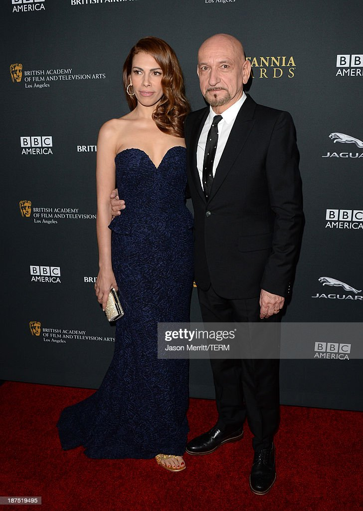 Actor Ben Kingsley (R) and wife Daniela Lavender attend the 2013 BAFTA LA Jaguar Britannia Awards presented by BBC America at The Beverly Hilton Hotel on November 9, 2013 in Beverly Hills, California.