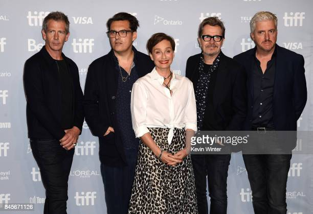 Actor Stephen Dillane director Joe Wright actors Kristin Scott Thomas Gary Oldman and screenwriter Anthony McCarten speak onstage at 'Darkest Hour'...