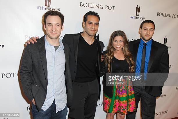 Actor Ben Savage actor/writer Ibrahim Ashmawey actress Danielle Fishel and writer/director Omar Ashmawey attend the private screening for 'Boiling...