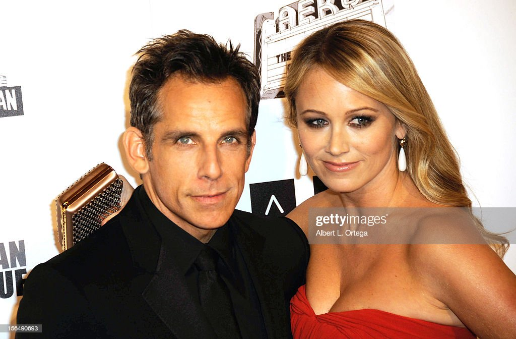 Actor <a gi-track='captionPersonalityLinkClicked' href=/galleries/search?phrase=Ben+Stiller&family=editorial&specificpeople=201806 ng-click='$event.stopPropagation()'>Ben Stiller</a> and actress <a gi-track='captionPersonalityLinkClicked' href=/galleries/search?phrase=Christine+Taylor&family=editorial&specificpeople=201985 ng-click='$event.stopPropagation()'>Christine Taylor</a> arrive for the 26th American Cinematheque Award Honoring <a gi-track='captionPersonalityLinkClicked' href=/galleries/search?phrase=Ben+Stiller&family=editorial&specificpeople=201806 ng-click='$event.stopPropagation()'>Ben Stiller</a> - Arrivals held at The Beverly Hilton Hotel on November 15, 2012 in Beverly Hills, California.