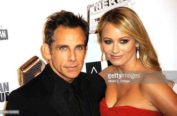 Actor Ben Stiller and actress Christine Taylor arrive for the 26th American Cinematheque Award Honoring Ben Stiller Arrivals held at The Beverly...