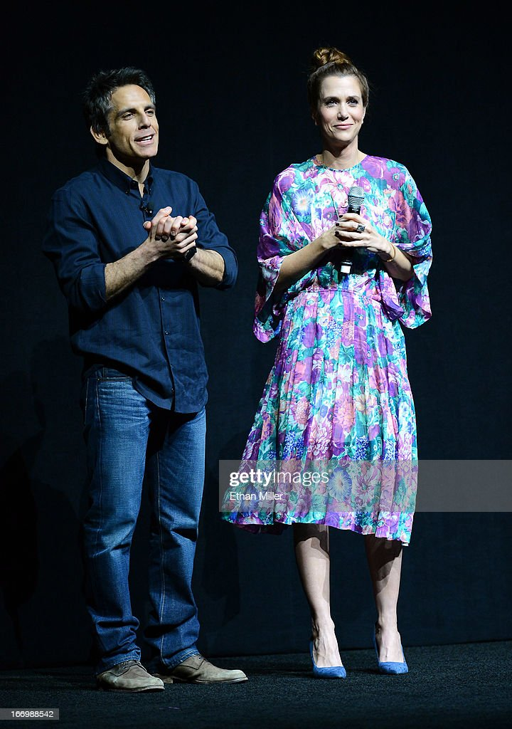 Actor Ben Stiller (L) and actress Kristen Wiig speak during a Twentieth Century Fox presentation to promote their upcoming film 'The Secret Life of Walter Mitty' at The Colosseum at Caesars Palace during CinemaCon, the official convention of the National Association of Theatre Owners, on April 18, 2013 in Las Vegas, Nevada.