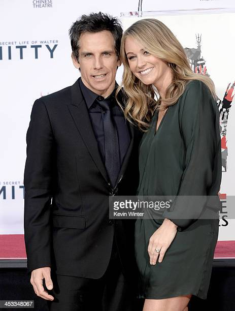 Actor Ben Stiller and his wife actress Christine Taylor pose as he is honored with a hand and footprint ceremony at the TCL Chinese Theatre on...