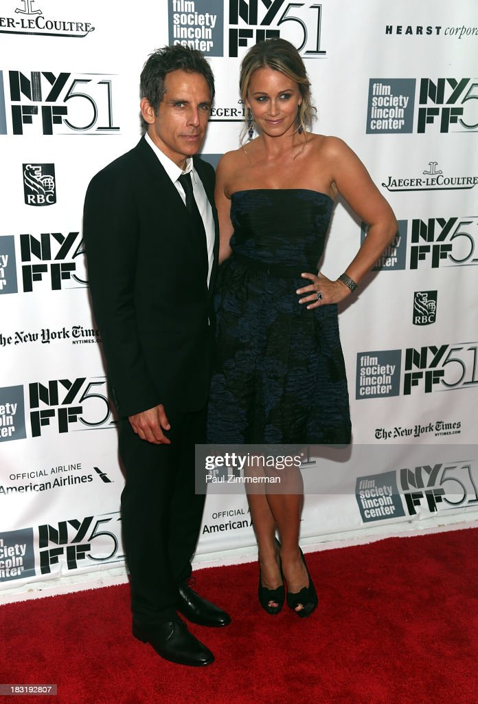 Actor <a gi-track='captionPersonalityLinkClicked' href=/galleries/search?phrase=Ben+Stiller&family=editorial&specificpeople=201806 ng-click='$event.stopPropagation()'>Ben Stiller</a> (L) and wife actress <a gi-track='captionPersonalityLinkClicked' href=/galleries/search?phrase=Christine+Taylor&family=editorial&specificpeople=201985 ng-click='$event.stopPropagation()'>Christine Taylor</a> attend the Centerpiece Gala Presentation Of 'The Secret Life Of Walter Mitty' premiere during the 51st New York Film Festival at Alice Tully Hall at Lincoln Center on October 5, 2013 in New York City.