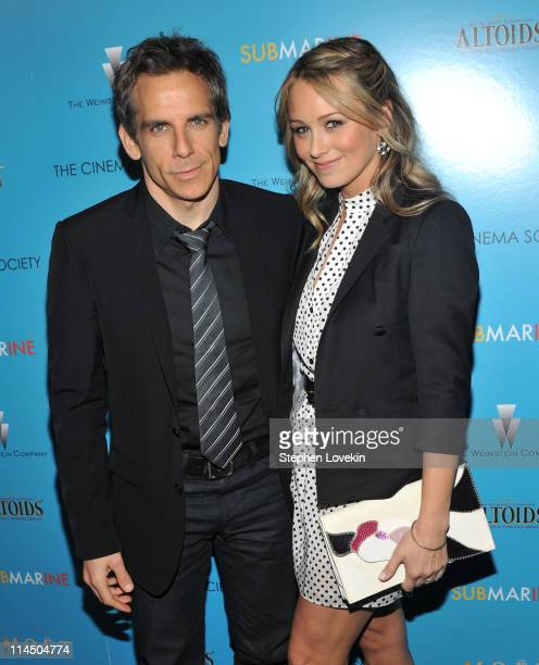 Actor Ben Stiller and wife actress Christine Taylor attend The Weinstein Company with The Cinema Society Altoids screening of 'Submarine' at...