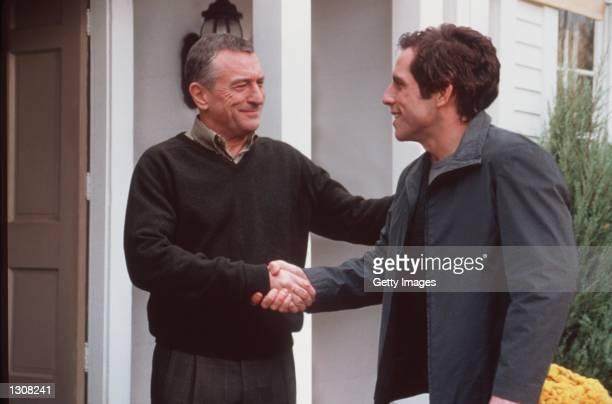 Actor Ben Stiller 'Greg Focker' meets his girlfriend''s father Robert De Niro 'Jack Byrnes' in Universal Pictures 'Meet the Parents'
