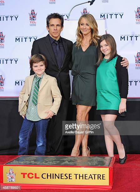 Actor Ben Stiller his wife actress Christine Taylor and their children Quinlin Stiller and Ella Stiller attend the hand and footprint ceremony...