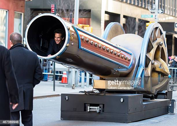 Actor Ben Stiller is seen inside of a cannon during fiming a segment at the taping of The Late Show with David Letterman outside Ed Sullivan Theater...