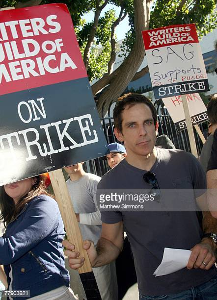Actor Ben Stiller pickets in support of the Writers Guild of America which is currently onstrike for increased residuals from film and television...