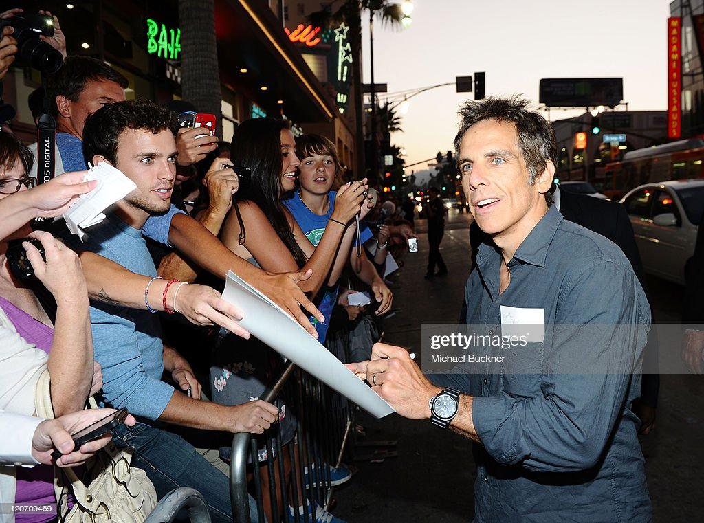 Actor Ben Stiller signs autographs at the Los Angeles Premiere of '30 Minutes Or Less' held at Grauman's Chinese Theatre on August 8 2011 in...