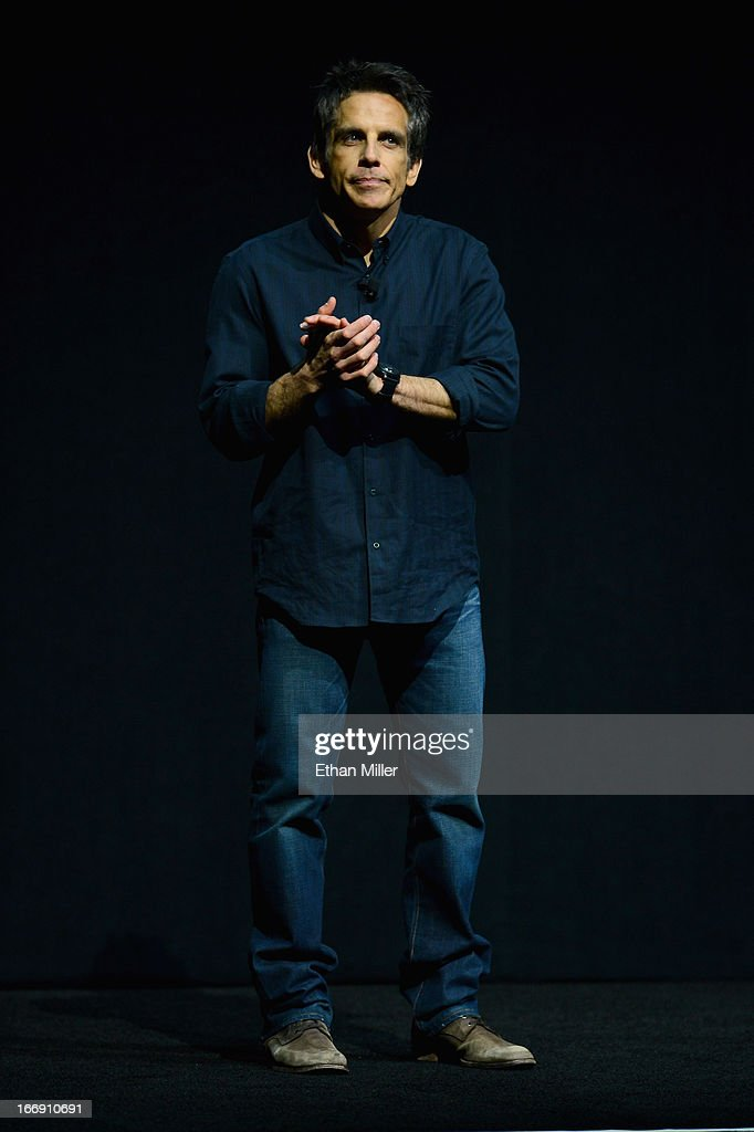 Actor Ben Stiller speaks during a Twentieth Century Fox presentation to promote the upcoming film 'The Secret Life of Walter Mitty' at The Colosseum at Caesars Palace during CinemaCon, the official convention of the National Association of Theatre Owners, on April 18, 2013 in Las Vegas, Nevada.