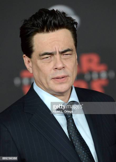 Actor Benecio Del Toro arrives for the Premiere Of Disney Pictures And Lucasfilm's 'Star Wars The Last Jedi' held at The Shrine Auditorium on...