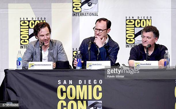 Actor Benedict Cumberbatch actor/writer/producer Mark Gatiss and writer/producer Steven Moffat attend the 'Sherlock' panel during ComicCon...