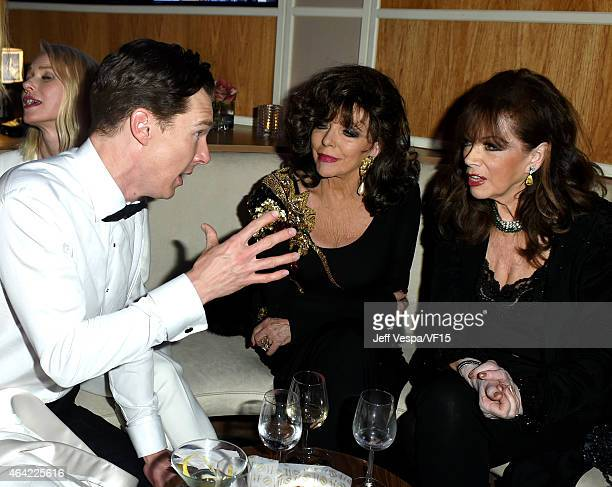 Actor Benedict Cumberbatch actress Joan Collins and writer Jackie Collins attend the 2015 Vanity Fair Oscar Party hosted by Graydon Carter at the...