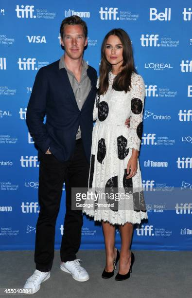 Actor Benedict Cumberbatch and actress Keira Knightley pose at 'The Imitation Game' Press Conference during the 2014 Toronto International Film...