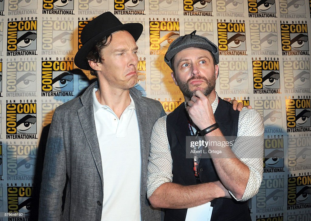Actor Benedict Cumberbatch and moderator Chris Hardwick attend the 'Sherlock' panel during ComicCon International 2016 at San Diego Convention Center...