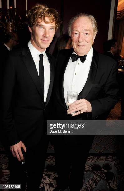 Actor Benedict Cumberbatch and Sir Michael Gambon attend the London Evening Standard Theatre Awards at The Savoy Hotel on November 28 2010 in London...