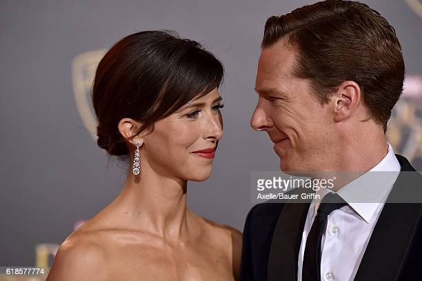 Actor Benedict Cumberbatch and wife Sophie Hunter arrive at the Los Angeles Premiere of 'Doctor Strange' on October 20 2016 in Hollywood California