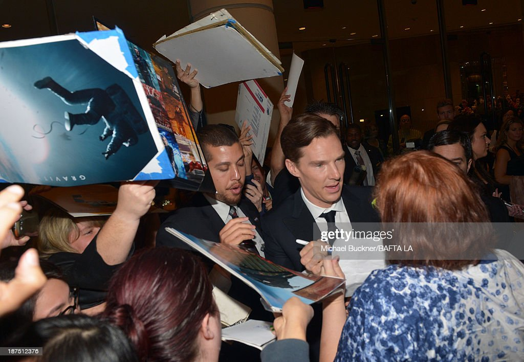 Actor <a gi-track='captionPersonalityLinkClicked' href=/galleries/search?phrase=Benedict+Cumberbatch&family=editorial&specificpeople=2487879 ng-click='$event.stopPropagation()'>Benedict Cumberbatch</a> (C) attends the 2013 BAFTA LA Jaguar Britannia Awards presented by BBC America at The Beverly Hilton Hotel on November 9, 2013 in Beverly Hills, California.