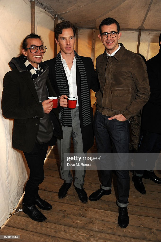 Actor Benedict Cumberbatch (C) Bally designers Michael Herz (L) and Graeme Fidler attendsthe 'BALLY Celebrates 60 Years of Conquering Everest' at Bedford Square Gardens on January 7, 2013 in London, England.