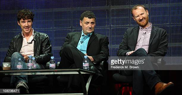 Actor Benedict Cumberbatch cocreators Steven Moffat and Mark Gatiss of the television show 'Sherlock' speak during the PBS portion of the 2010 Summer...
