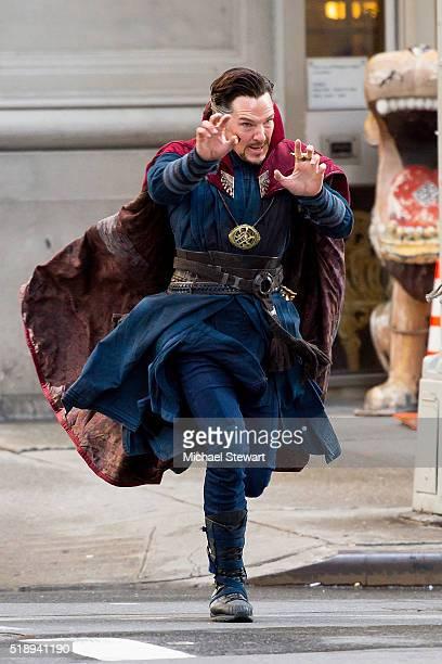 Actor Benedict Cumberbatch is seen filming 'Doctor Strange' on April 3 2016 in New York City