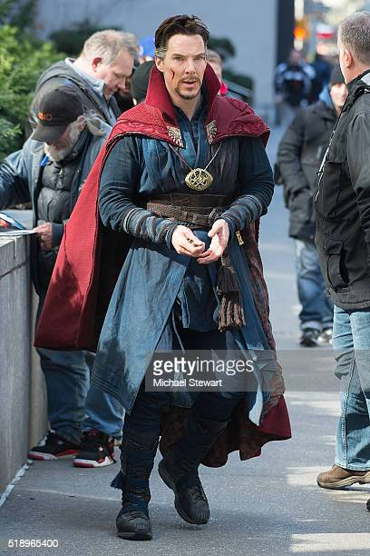 Actor Benedict Cumberbatch is seen filming 'Doctor Strange' on April 3 2016 in New York City