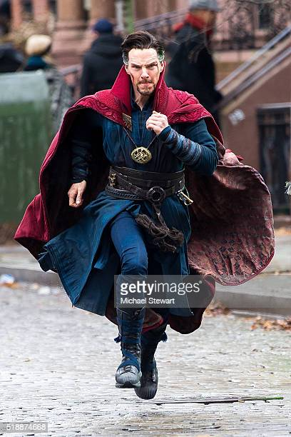 Actor Benedict Cumberbatch is seen filming 'Doctor Strange' on location on April 2 2016 in New York City