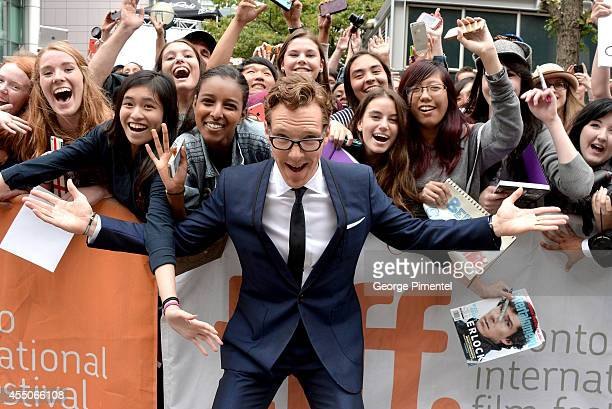 Actor Benedict Cumberbatch poses with fans at 'The Imitation Game' premiere during the 2014 Toronto International Film Festival at Princess of Wales...