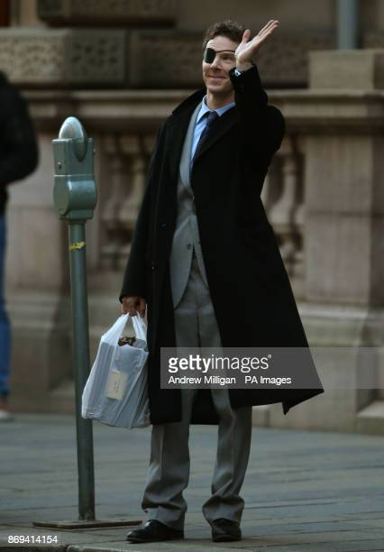 Actor Benedict Cumberbatch waves to the crowds during shooting scenes in Glasgow which has been transformed into New York City for the filming of the...