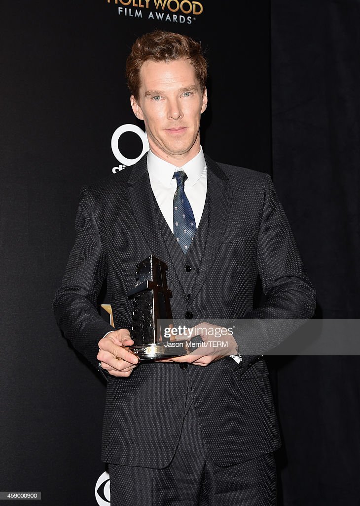 Actor Benedict Cumberbatch, winner of Hollywood Actor for 'The Imitation Game,' poses in the press room during the 18th Annual Hollywood Film Awards at The Palladium on November 14, 2014 in Hollywood, California.