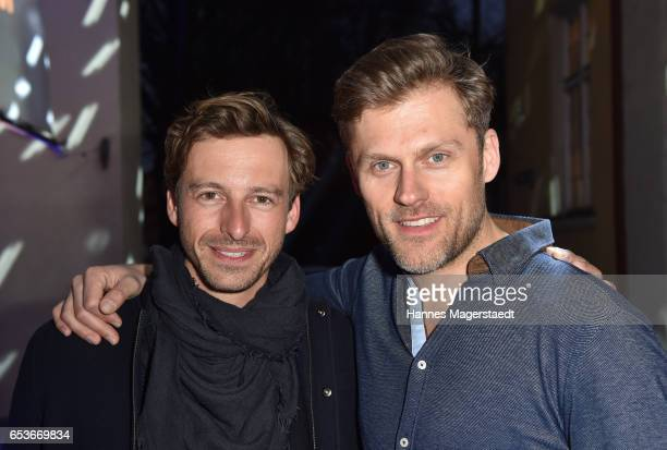Actor Benedikt Blaskovic and Jens Atzorn during the NdF after work press cocktail at Parkcafe on March 15 2017 in Munich Germany