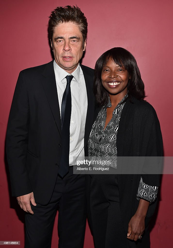 Actor Benicio del Toro (L) and AFI FEST Director Jacqueline Lyanga attend 'A Conversation with Benicio Del Toro' during AFI FEST 2015 presented by Audi at the Egyptian Theatre on November 7, 2015 in Hollywood, California.