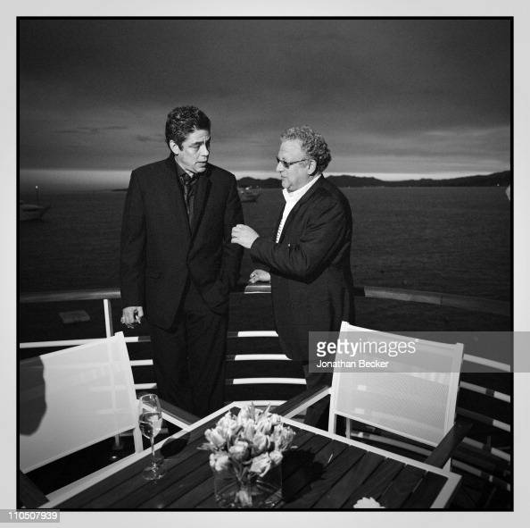 Actor Benicio Del Toro and producer Jeremy Thomas are photographed at Vanity Fair Cannes Party at the Eden Roc Cap d'Antibes for Vanity Fair Magazine...