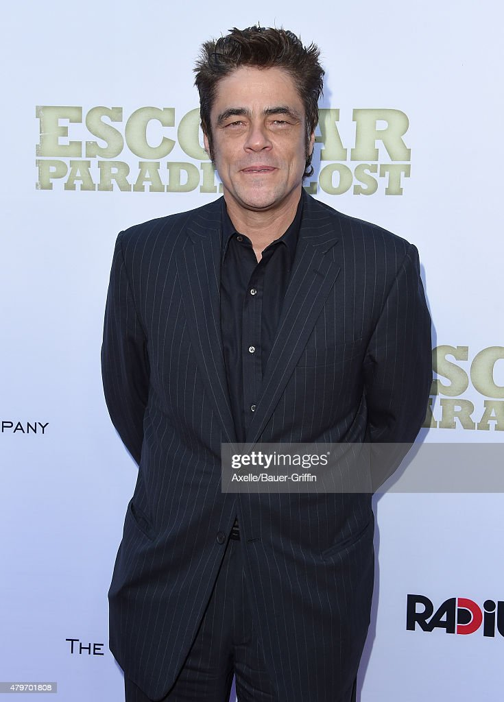 Actor Benicio Del Toro arrives at the Los Angeles premiere of 'Escobar Paradise Lost' at ArcLight Hollywood on June 22 2015 in Hollywood California