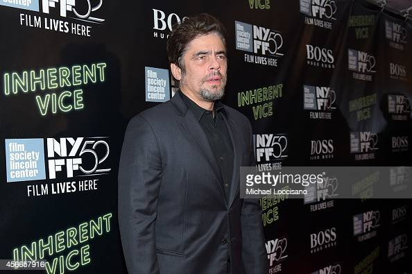 Actor Benicio del Toro attends the Centerpiece Gala Presentation and World Premiere of 'Inherent Vice' during the 52nd New York Film Festival at...