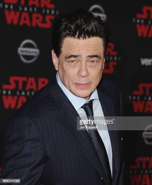 Actor Benicio Del Toro attends the Los Angeles Premiere 'Star Wars The Last Jedi' at The Shrine Auditorium on December 9 2017 in Los Angeles...