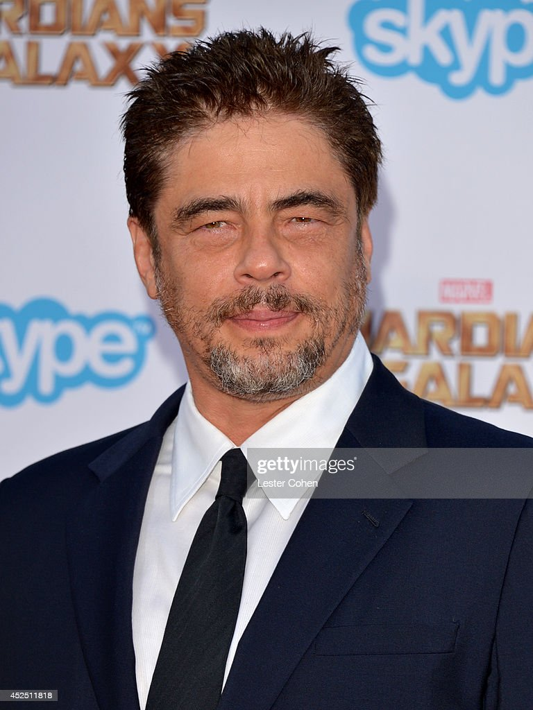 Actor <a gi-track='captionPersonalityLinkClicked' href=/galleries/search?phrase=Benicio+Del+Toro&family=editorial&specificpeople=203277 ng-click='$event.stopPropagation()'>Benicio Del Toro</a> attends the premiere of Marvel's 'Guardians Of The Galaxy' at the El Capitan Theatre on July 21, 2014 in Hollywood, California.
