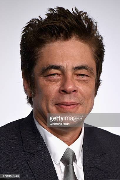 Actor Benicio Del Toro attends the press conference for 'Sicario' during the 68th annual Cannes Film Festival on May 19 2015 in Cannes France