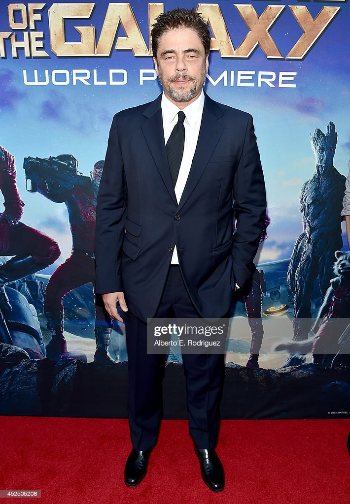 "Actor Benicio del Toro attends The World Premiere of Marvel's epic space adventure ""Guardians of the Galaxy"" directed by James Gunn and presented in..."