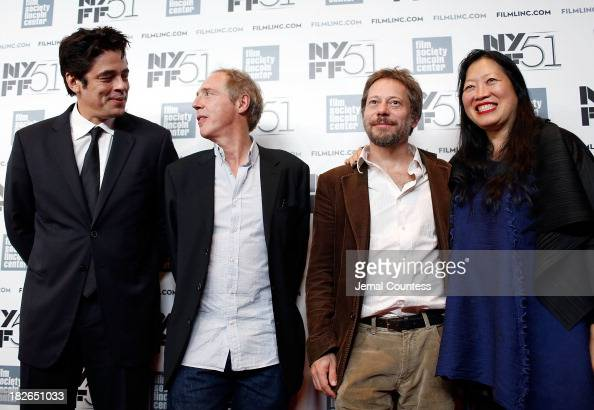 Actor Benicio del Toro director Arnaud Desplechin actor Mathieu Amalric and Executive Director of the Film Society of Lincoln Center Rose Kuo attend...
