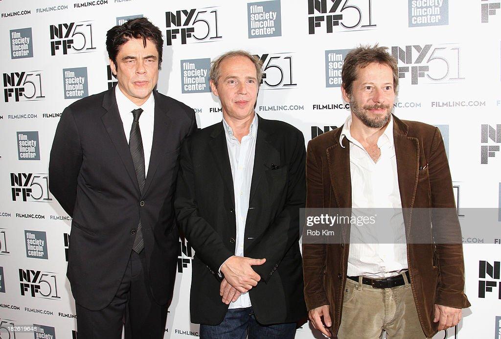 Actor Benicio del Toro, director Arnaud Desplechin, and actor Mathieu Amalric attend the 'Jimmy