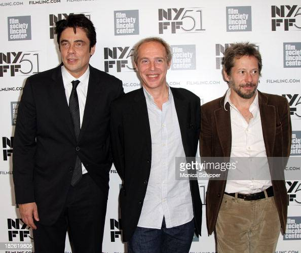Actor Benicio Del Toro director Arnaud Desplechin and actor Mathieu Amalric attend the 'Jimmy PPsychotherapy Of A Plains Indian' premiere during the...
